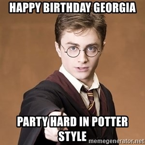 Harry Potter spell - happy birthday georgia party hard in potter style