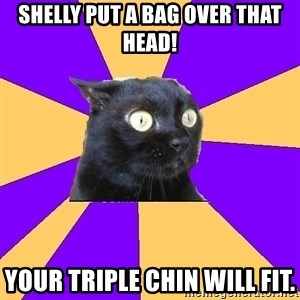 Anxiety Cat - Shelly put a bag over that head! Your triple chin will fit.