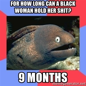 Bad Joke Eels - for how long can a black woman hold her shit?  9 months