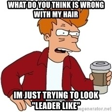 "Futurama Fry - what do you think is wrong with my hair im just trying to look ""leader like"""