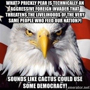 Freedom Eagle  - What? Prickly pear is technically an aggressive foreign invader that threatens the livelihoods of the very same people who feed our nation?! sounds like cactus could use some democracy!