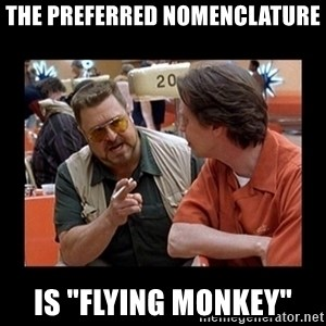 "walter sobchak - The preferred nomenclature Is ""flying monkey"""
