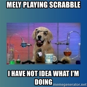 Chemistry Dog - Mely playing Scrabble I have not idea what I'm doing