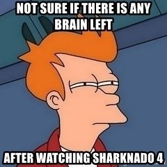 Fry squint - not sure if there is any brain left after watching sharknado 4