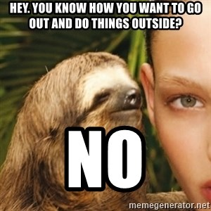 Whisper Sloth - HEY. YOU KNOW HOW YOU WANT TO GO OUT AND DO THINGS OUTSIDE? NO