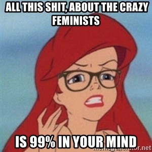 Hipster Ariel- -  all this shit, about the crazy feminists is 99% in your mind