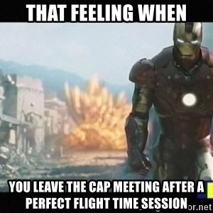 Iron man walks away - That feeling when you leave the CAP meeting after a perfect flight time session