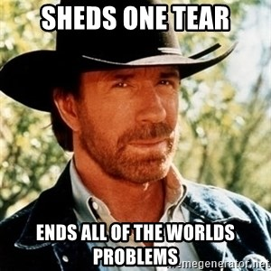 Chuck Norris Pwns - Sheds one tear Ends all of the worlds problems