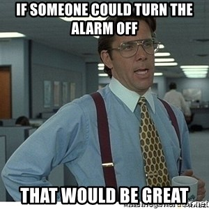 That would be great - if someone could turn the alarm off that would be great