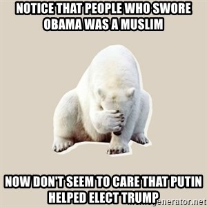 Bad RPer Polar Bear - Notice that people who swore Obama was a Muslim Now don't seem to care that Putin helped elect Trump