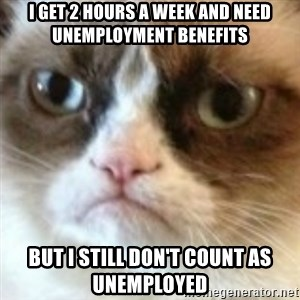angry cat asshole - I get 2 hours a week and need unemployment benefits but i still don't count as unemployed