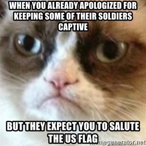 angry cat asshole - When you already apologized for keeping some of their soldiers captive But they expect you to salute the US Flag