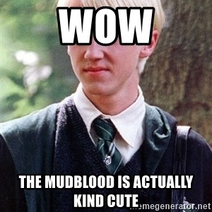 Draco Malfoy - wow the mudblood is actually kind cute