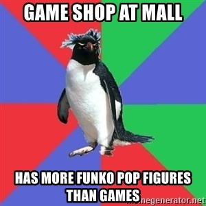 Comic Book Addict Penguin - game shop at mall has more funko pop figures than games