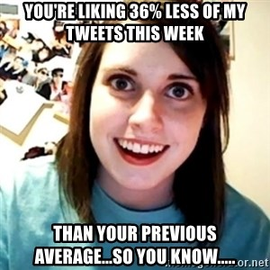 Overly Obsessed Girlfriend - You're liking 36% less of my tweets this week than your previous average...so you know.....