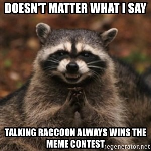 evil raccoon - Doesn't matter what I say Talking raccoon always wins the meme contest