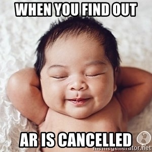 Happy baby - when you find out  AR is cancelled
