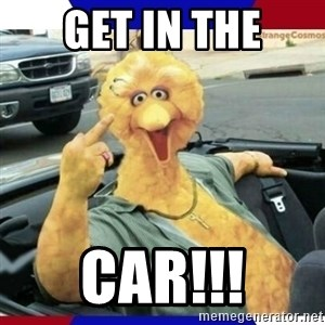 Big Bird Middle Finger - get in the car!!!