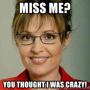 Sarah Palin - Miss me? You thought I was crazy!