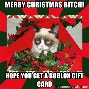 GRUMPY CAT ON CHRISTMAS - merry christmas bitch! hope you get a roblox gift card