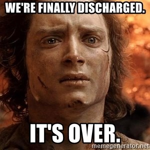 Frodo  - We're finally discharged. It's over.
