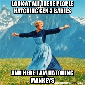 Sound Of Music Lady - look at all these people hatching gen 2 babies and here I am hatching Mankeys