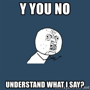 y you no - Y you no understand what i say?