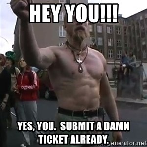 Techno Viking - HEY YOU!!! Yes, you.  SUBMIT A DAMN TICKET ALREADY.
