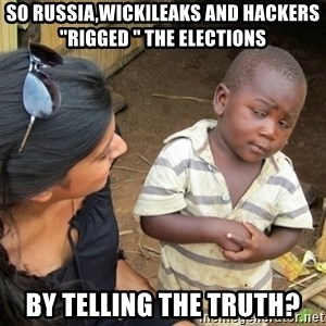 "Skeptical 3rd World Kid - so russia,wickileaks and hackers ""rigged "" the elections by telling the truth?"