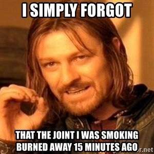 One Does Not Simply - I simply forgot that the joint I was smoking burned away 15 minutes ago