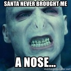 Angry Voldemort - Santa never brought me a nose...