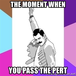 Freddie Mercury rage pose - The moment when You Pass the PERT