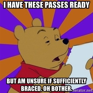 Skeptical Pooh - I have these passes ready but am unsure if sufficiently braced. oh bother.