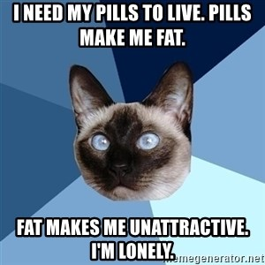 Chronic Illness Cat - I need my pills to live. Pills make me fat. Fat makes me unattractive. I'm lonely.