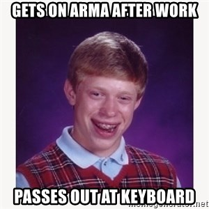 nerdy kid lolz - Gets on Arma after work Passes out at keyboard