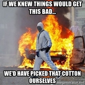 London Riots - if we knew things would get this bad... we'd have picked that cotton  ourselves
