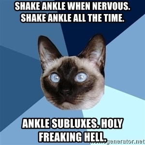 Chronic Illness Cat - Shake Ankle when Nervous. Shake Ankle All the time. Ankle subluxes. Holy freaking Hell.
