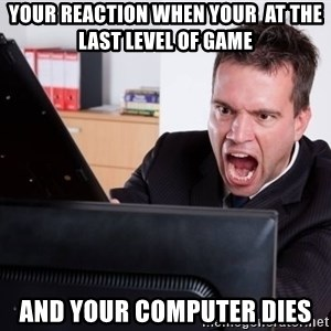 Angry Computer User - Your reaction when your  at the last level of game and your computer dies