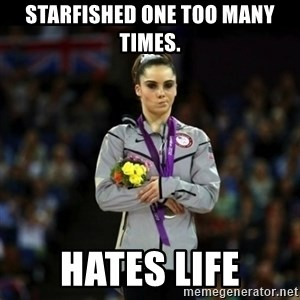 Unimpressed McKayla Maroney - Starfished one too many times. Hates life