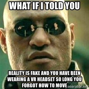 What If I Told You - What if i told you Reality is fake and you have been wearing a vr headset so long you forgot how to move