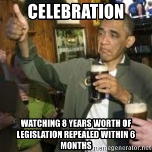 obama beer - celebration watching 8 years worth of legislation repealed within 6 months
