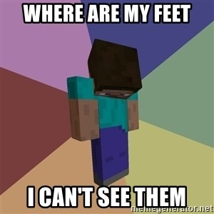 Depressed Minecraft Guy - Where are my feet  I can't see them