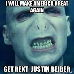 Angry Voldemort - I will make America great again get rekt  Justin Beiber
