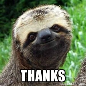 Sarcastic Sloth -  Thanks