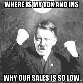 Disco Hitler - where is my tdx and ins why our sales is so low