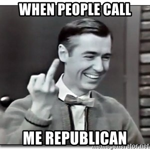 Mr Rogers gives the finger - When people call Me republican