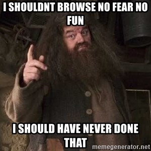 Hagrid - i shouldnt browse no fear no fun i should have never done that