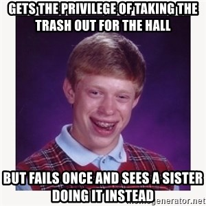 nerdy kid lolz - Gets the privilege of taking the trash out for the hall But fails once and sees a sister doing it instead