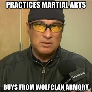 Steven Seagal Mma - practices martial arts buys from wolfclan armory