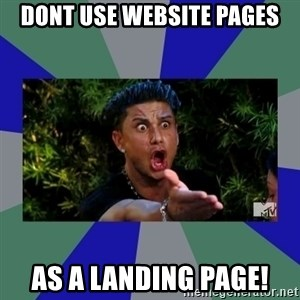jersey shore - DONT USE WEBSITE PAGES AS A LANDING PAGE!